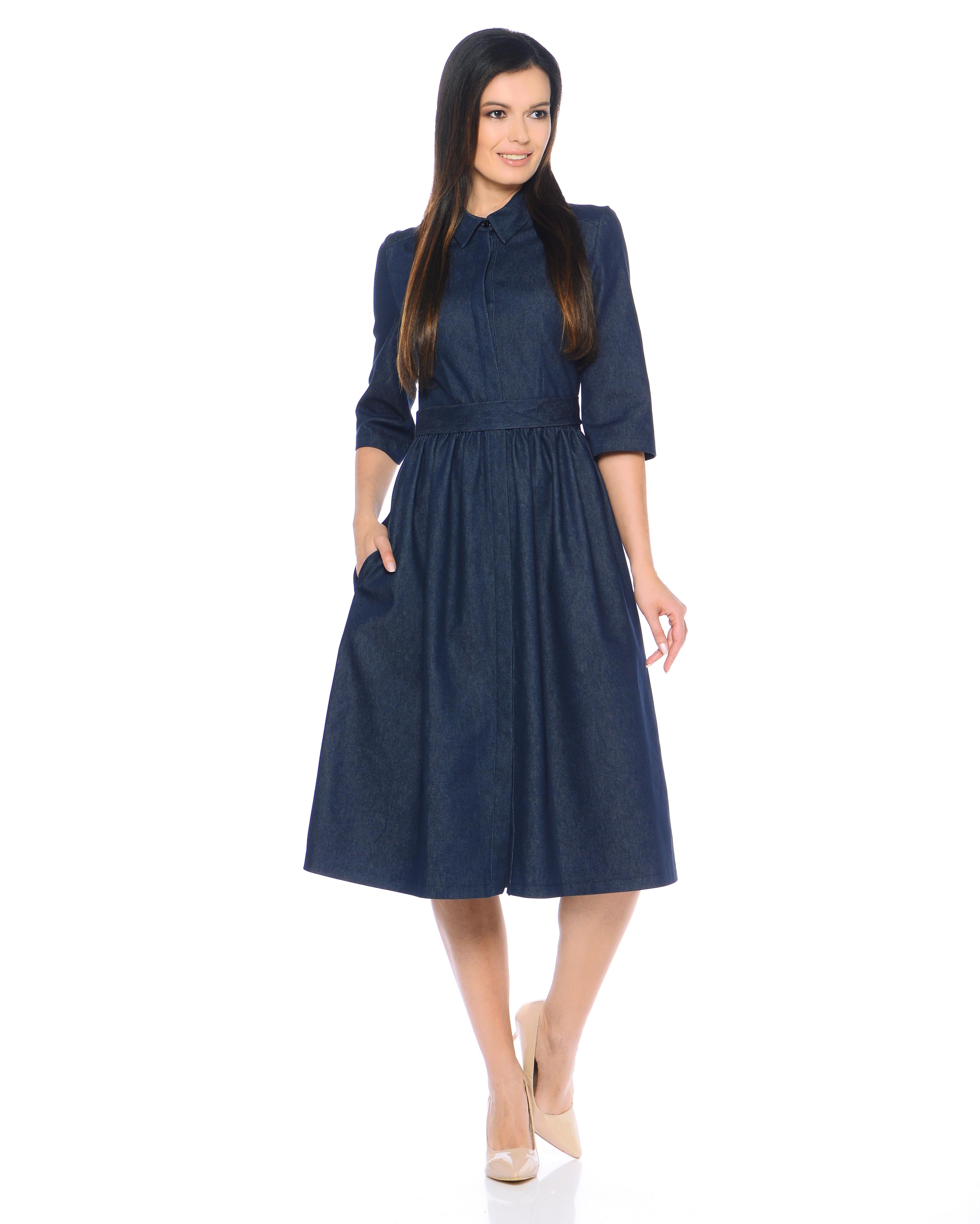 Платье Джинс синий  миди