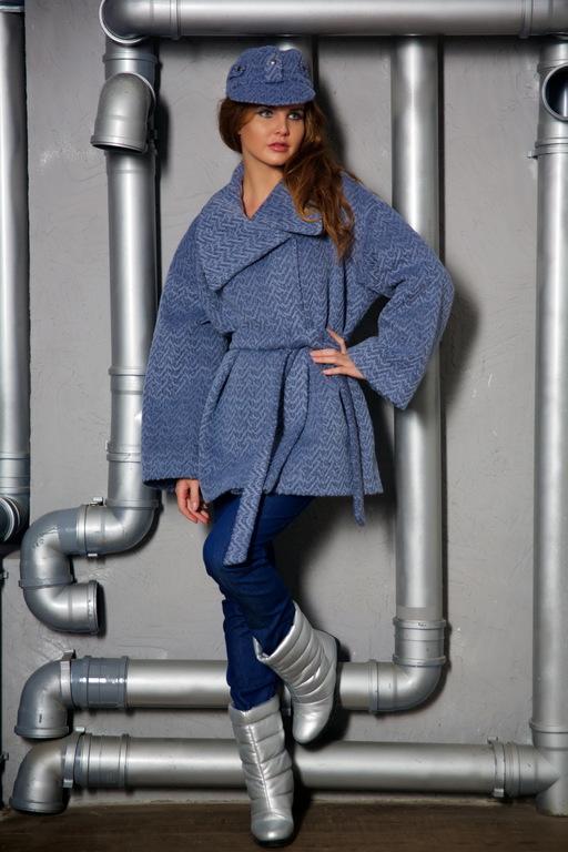 Пальто серо-голубое