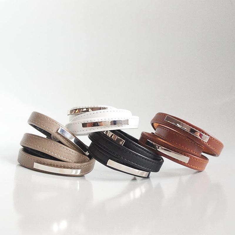 Кожаные браслеты-обмотки Metal stripes