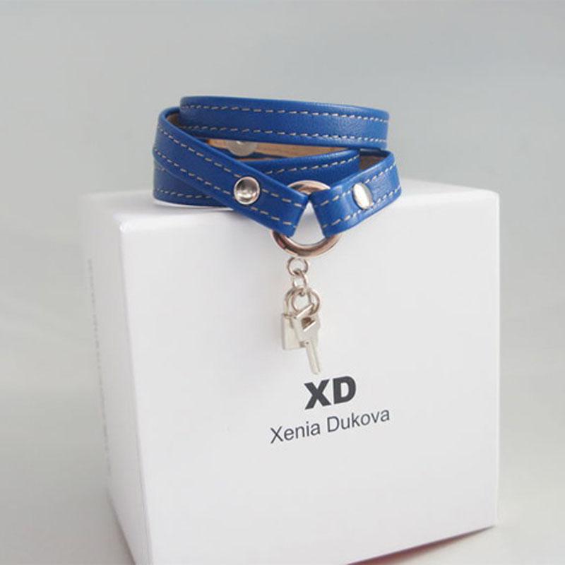 Кожаный браслет Dark blue