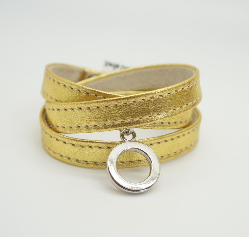 Кожаный браслет Gold