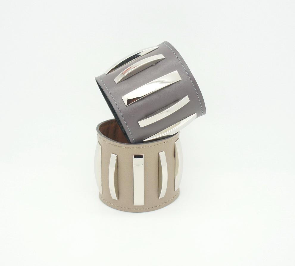 Широкий браслет из кожи Metal Stripes