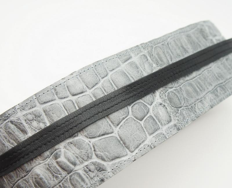Пояс-кушак из натуральной кожи, серый кроко