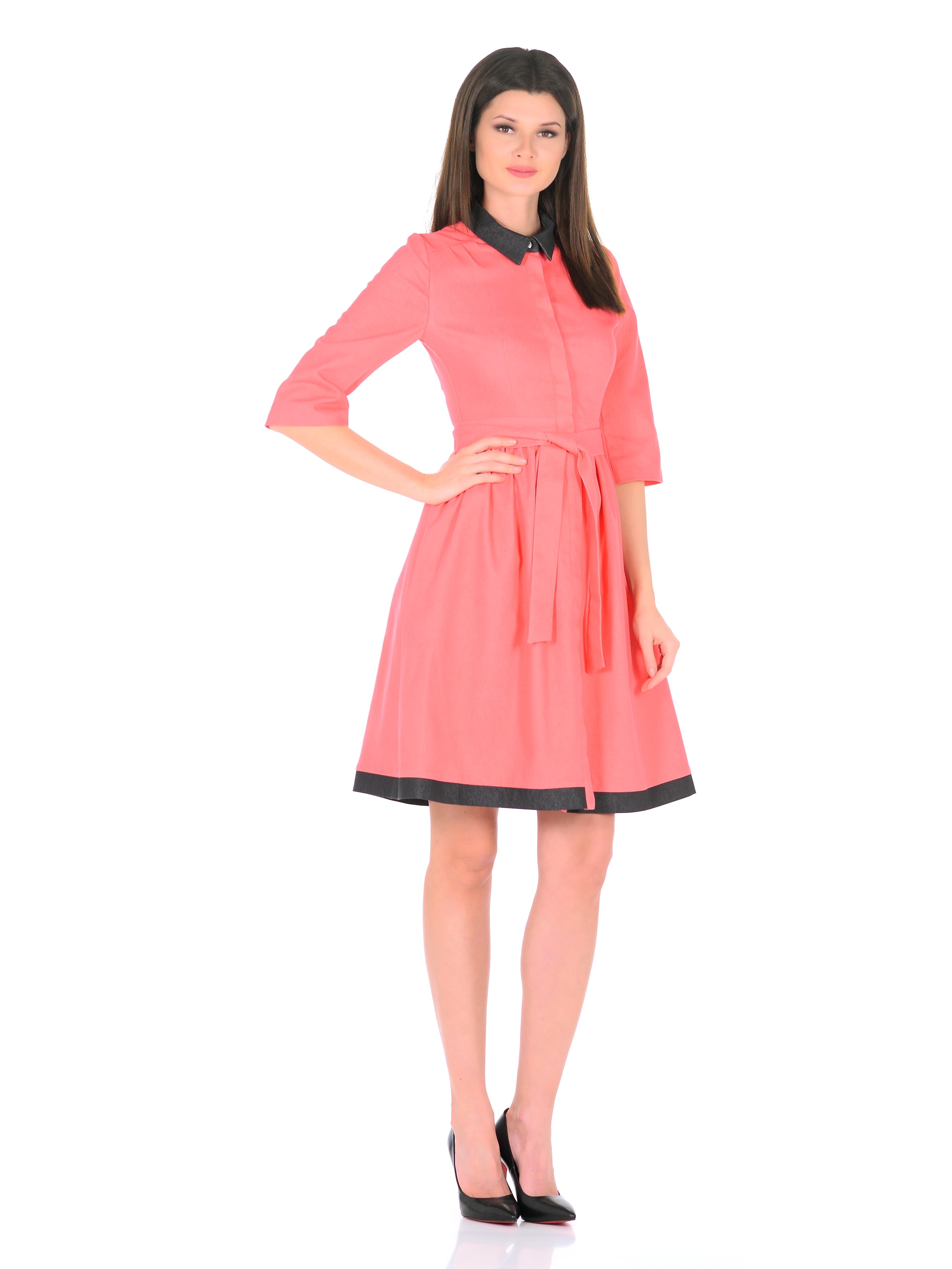 Платье Джинс коралл с отделкой