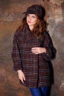 Пальто шоколадно-бирюзовое Image 2