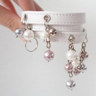 Белый браслет из кожи Pearls Image 1