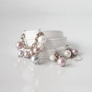 Белый браслет из кожи Pearls Image 0