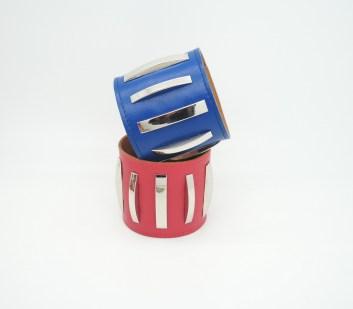 Широкий браслет из кожи Metal Stripes Image 2