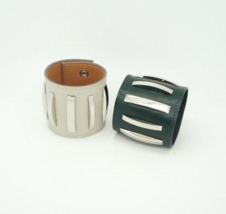 Широкий браслет из кожи Metal Stripes Image 1