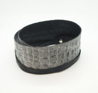 Пояс-кушак из натуральной кожи, серый кроко Image 1