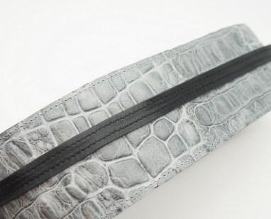 Пояс-кушак из натуральной кожи, серый кроко Image 0